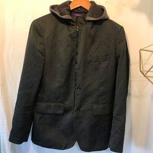 American Rag Cotton Blend Stone Grey Hooded Blazer